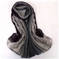 Floral Printed Lace Women Scarf Fiber Cloth Warm Scarves Wraps 180*95CM - Black