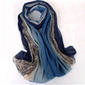 Floral Printed Lace Women Scarf Fiber Cloth Warm Scarves Wraps 180*95CM - Blue