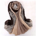 Floral Printed Lace Women Scarf Fiber Cloth Warm Scarves Wraps 180*95CM - Brown