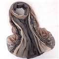 Floral Printed Lace Women Scarf Fiber Cloth Warm Scarves Wraps 180*95CM - Coffee