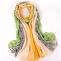 Floral Printed Lace Women Scarf Fiber Cloth Warm Scarves Wraps 180*95CM - Green