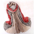 Floral Printed Lace Women Scarf Fiber Cloth Warm Scarves Wraps 180*95CM - Red