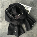 Free Beaded Scarves Wrap Women Winter Warm Cashmere Solid 195*50CM - Black