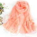 Free Floral Lace Scarf Shawls Women Winter Warm Chiffon Solid 198*70CM - Orange