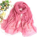 Free Floral Lace Scarf Shawls Women Winter Warm Chiffon Solid 198*70CM - Rose