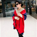 Free Fringe Scarves Wrap Women Winter Warm Cashmere Panties 195*65CM - Red Blue