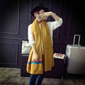 Free Fringe Scarves Wrap Women Winter Warm Cashmere Panties 195*65CM - Yellow