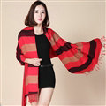 Fringed Fringe Scarves Wrap Women Winter Warm Cashmere Panties 200*70CM - Red Black