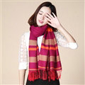 Fringed Fringe Scarves Wrap Women Winter Warm Cashmere Panties 200*70CM - Rose Brown