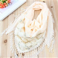 Fringed Lace Floral Scarf Shawls Women Winter Warm Velvet Panties 140*50CM - Beige