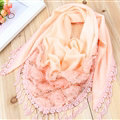 Fringed Lace Floral Scarf Shawls Women Winter Warm Velvet Panties 140*50CM - Orange