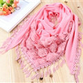 Fringed Lace Floral Scarf Shawls Women Winter Warm Velvet Panties 140*50CM - Peel Powder