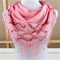 Fringed Lace Floral Scarf Shawls Women Winter Warm Velvet Panties 140*50CM - Pink