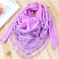 Fringed Lace Floral Scarf Shawls Women Winter Warm Velvet Panties 140*50CM - Purple