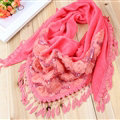 Fringed Lace Floral Scarf Shawls Women Winter Warm Velvet Panties 140*50CM - Watermelon Red