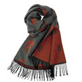 Fringed Skull Scarf Shawls Women Winter Warm Wool Panties 100*50CM - Grey