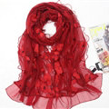 Good Floral Lace Women Scarf Shawls Winter Warm Polyester Scarves 195*56CM - Red
