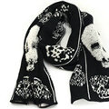 Good Skull Scarf Shawls Women Winter Warm Wool Panties 200*30CM - Black