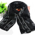 Lovely Skull Women Scarf Shawls Winter Warm Polyester Scarves 170*90CM - Black