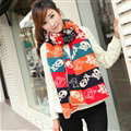 Nice Fringe Skull Scarf Shawls Women Winter Warm Wool Panties 190*32CM - Beige