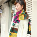 Nice Fringe Skull Scarf Shawls Women Winter Warm Wool Panties 190*32CM - Green