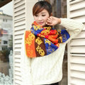 Nice Fringe Skull Scarf Shawls Women Winter Warm Wool Panties 190*32CM - Yellow