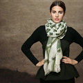 Nice Skull Scarf Shawls Women Winter Warm Wool Panties 175*70CM - Green