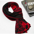 Nice Skull Scarf Shawls Women Winter Warm Wool Panties 195*40CM - Black Red