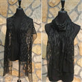 Paillette Embroidered Beaded Scarves Wrap Women Winter Warm Silk 200*50CM - Black