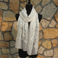 Paillette Embroidered Beaded Scarves Wrap Women Winter Warm Silk 200*50CM - White