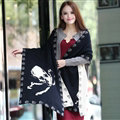 Popular Skull Scarf Shawls Women Winter Warm Wool Panties 180*70CM - Black