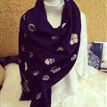 Popular Skull Scarves Wrap Women Winter Warm Cashmere Panties 190*70CM - Black