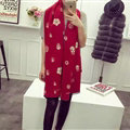 Popular Skull Scarves Wrap Women Winter Warm Cashmere Panties 190*70CM - Red