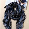 Pretty Cute Skull Scarves Wrap Women Winter Warm Cashmere 140*140CM - Blue