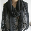 Pretty Embroidered Floral Beaded Scarves Wrap Women Winter Warm Silk 200*50CM - Black