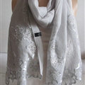 Pretty Embroidered Floral Beaded Scarves Wrap Women Winter Warm Silk 200*50CM - Grey