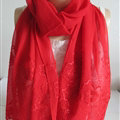Pretty Embroidered Floral Beaded Scarves Wrap Women Winter Warm Silk 200*50CM - Red