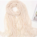 Pretty Embroidered Floral Lace Scarves Wrap Women Winter Warm Cotton 200*75CM - Beige