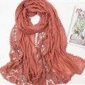 Pretty Embroidered Floral Lace Scarves Wrap Women Winter Warm Cotton 200*75CM - Coffee