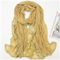 Pretty Embroidered Floral Lace Scarves Wrap Women Winter Warm Cotton 200*75CM - Yellow