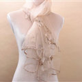 Pretty Floral Lace Scarf Shawls Women Winter Warm Silk Panties 180*70CM - Beige