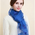 Pretty Floral Lace Scarf Shawls Women Winter Warm Silk Panties 180*70CM - Blue
