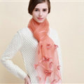 Pretty Floral Lace Scarf Shawls Women Winter Warm Silk Panties 180*70CM - Orange