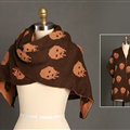 Pretty Skull Scarves Wrap Women Winter Warm Cashmere Panties 180*30CM - Brown