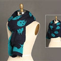 Pretty Skull Scarves Wrap Women Winter Warm Cashmere Panties 180*30CM - Navy