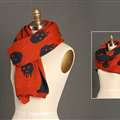 Pretty Skull Scarves Wrap Women Winter Warm Cashmere Panties 180*30CM - Orange