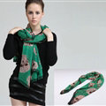 Pretty Skull Sheer Scarf Shawls Women Winter Warm Silk Panties 140*140CM - Green