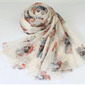 Pretty Skull Sheer Scarf Shawls Women Winter Warm Silk Panties 200*65CM - White