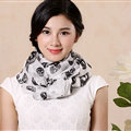 Pretty Skull Sheer Scarf Shawls Women Winter Warm Silk Panties 245*135CM - White