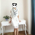 Quality Pretty Skull Scarves Wrap Women Winter Warm Silk 140*140CM - White